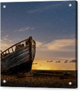 Old Dungeness Fishing Boat Under The Stars Acrylic Print