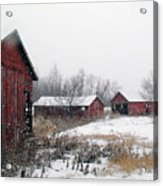 Old Farm Sheds In Snow Acrylic Print