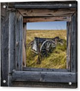 Old Farm Wagon Viewed Through A Barn Window Acrylic Print