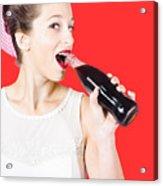 Old-fashion Pop Art Girl Drinking From Soda Bottle Acrylic Print