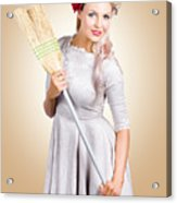 Old Fashion Woman Spring Cleaning With Broom Acrylic Print