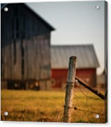 Old Fence With A Red Barn Acrylic Print