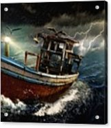 Old Fishing Boat In A Storm  L A Acrylic Print