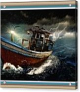Old Fishing Boat In A Storm L B With Decorative Ornate Printed Frame. Acrylic Print