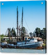 Old Fishing Boat In Port Acrylic Print