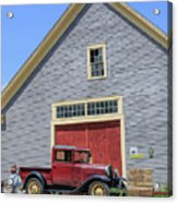 Old Ford Model A Pickup In Front Barn Acrylic Print