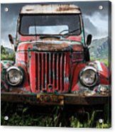 Old Forgotten Red Car Acrylic Print