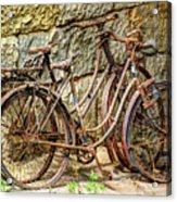 Old French Bicycles Acrylic Print by Debra and Dave Vanderlaan