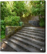 Old Garden With Stone Walls And Stair Steps Acrylic Print