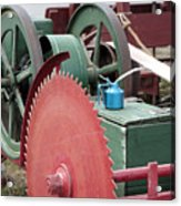 Old Gas Engine And Saw Blade At A County Fair Acrylic Print