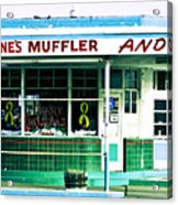 Old Gas Station Green Tile Acrylic Print