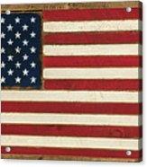 Old Glory Displayed On Wood Acrylic Print