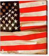 Old Glory Flag In Breeze Acrylic Print