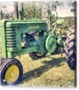 Old Green Vintage Tractor Watercolor Acrylic Print