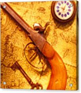 Old Gun On Old Map Acrylic Print by Garry Gay