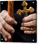 Old Hands And Crucifix  Acrylic Print