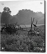 Old Hay Baler In Misty Field Acrylic Print