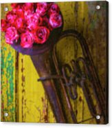 Old Horn And Roses On Door Acrylic Print
