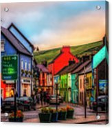 Old Irish Town The Dingle Peninsula At Sunset Acrylic Print
