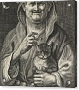 Old Jester With Cat, Alexander Voet II, After Jacob Jordaens I, 1662-1674 Acrylic Print