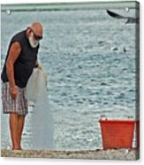 Old Man And The Net Acrylic Print