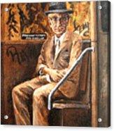 Old Man In Subway Acrylic Print