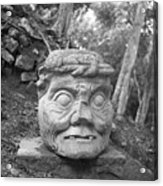 Old Man Of Copan Sculpture, Also Known As The Pauahtun Head From Acrylic Print