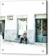 Old Man Sitting In Front Of A Shop Acrylic Print