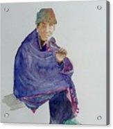 Old Man Smoking Acrylic Print
