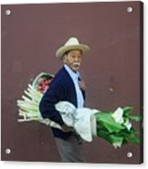 Old Man With Flowers Acrylic Print