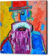 Old Man With Red Bowler Hat Acrylic Print