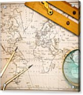 Old Map And Navigational Objects. Acrylic Print by Richard Thomas
