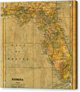 Old Map Of Florida Vintage Circa 1893 On Worn Distressed Parchment Acrylic Print