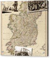 Vintage Map Of Ireland With Old Irish Woodcuts Acrylic Print