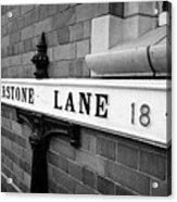 old metal victorian sign for warstone lane jewellery quarter Birmingham UK Acrylic Print
