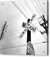 Old Midwest Railroad Warning Crossing Sign And Stop Sign At Dawn Acrylic Print