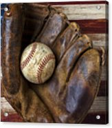 Old Mitt And Baseball Acrylic Print by Garry Gay