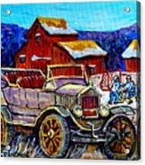 Old Model T Car Red Barns Canadian Winter Landscapes Outdoor Hockey Rink Paintings Carole Spandau Acrylic Print