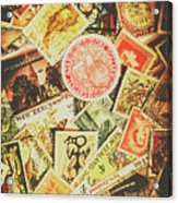 Old New Zealand Stamps Acrylic Print