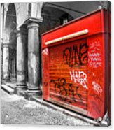 Old Newsstand Closed In Bologna Canvas - Technique Of Selective Color -  Black And White Only Red Acrylic Print