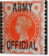 Old Orange Halfpenny Stamp  Acrylic Print