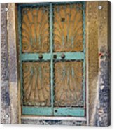 Old Ornate Wrought Iron Door In Venice, Italy  Acrylic Print