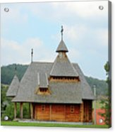 Old Orthodox Wooden Church On Hill Acrylic Print