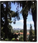 Old Palm Trees And Downtown Los Angeles Acrylic Print