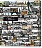 Old Paris Collage Acrylic Print by Janos Kovac