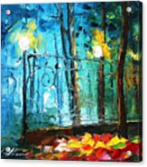 Old Park 2 - Palette Knife Oil Painting On Canvas By Leonid Afremov Acrylic Print