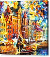 Old Port - Palette Knife Oil Painting On Canvas By Leonid Afremov Acrylic Print