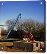 Old Quarry Machinery Winter Day Tegg's Nose Country Park Macclesfield Cheshire England Acrylic Print
