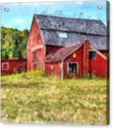 Old Red Barn Abandoned Farm Vermont Acrylic Print