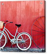 Old Red Barn And Bicycle Acrylic Print